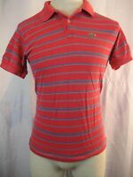 Mens Vntg Lacoste (Alligator) Red Blue Cotton SS Polo Golf Casual Shirt sz L