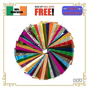 10/20/50Pcs Mixed Nail Art Transfer Foil Stickers Wraps 12cm Foils EU