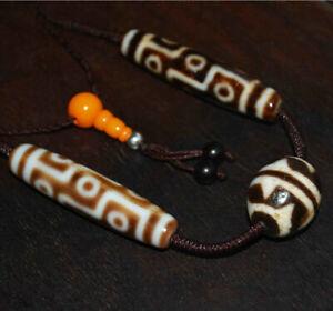 tibetan 9 eyes dzi bead amulet antique necklace tiger water wave gzi eye genuine