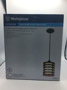 "Westinghouse 600400 58-15/16"" One Light Adjustable Bronze/Amber Pendent"
