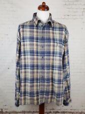 Vtg 1990s Brown Blue Plaid Check Flannel Shirt Skater Boarder Grunge -XL- EJ76