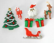 Christmas Eve Buttons / Holiday Collection / Dress It Up / Santa ~ Sleigh ~ Tree