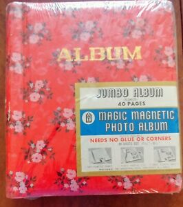 VINTAGE JUMBO PHOTO ALBUM  w/20 Sheets (40 pages) Magic Magnetic sheet covers