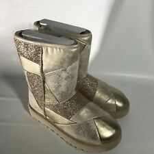 UGG Classic Glitter Patchwork Suede Fur Gold Sparkle Short Boots Size 7 Womens
