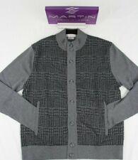 MARTIN Zegna Baruffa Italian Merino Large Glen Pld Sweater BUTTON FRONT NWT Grey