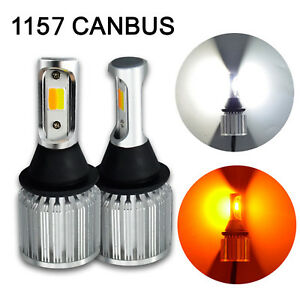 2x CANBUS 1157 Switchback LED Bulb Extremely Bright DRL 30W COB Dual Amber White