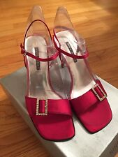 NINE WEST RED Satin Sandal Silver Rhinestone  Buckle Dressy Evening Heels Size 8