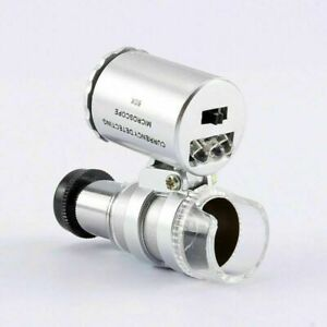 60X Magnifying Loupe Jewelry Eye Glass Magnifier LED Light Jewelers Loop Pocket