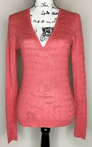 Women's J Crew Coral Pink Linen Cable Knit V-Neck Pullover Sweater Medium Casual
