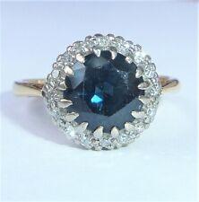 Antique Art Deco 18ct Gold, Platinum, Sapphire & Diamond Halo Ring, Size K 1/2