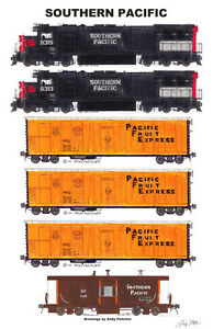"Southern Pacific / Pacific Fruit Express 11""x17"" Poster by Andy Fletcher signed"