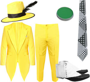 MENS 90S FANCY DRESS YELLOW SUIT COSTUME WITH HAT ADULT MASK OUTFIT HALLOWEEN