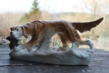 Große Royal Dux Porzellanfigur Hund - Jagdhund mit Fasan ca. 35 cm Böhmen