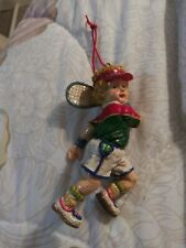 "Vintage Girl Tennis Player Christmas Ornaments 4"""