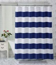 Bold Navy White Striped Nautical Farmhouse Elegant Simple Fabric Shower Curtain