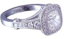 18K WHITE GOLD CUSHION CUT DIAMOND ENGAGEMENT RING BEZEL SET ANTIQUE STYLE 2.10C