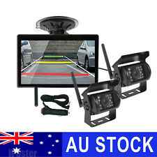 "2x Wireless IR Reversing CCD Camera + 5"" Monitor & Cigarette Lighter For Carava"