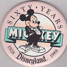 "VINTAGE 3"" PINBACK #35- 086 - DISNEY - MICKEY MOUSE - SIXTY YEARS - DISNEYLAND"