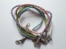 5 cuerdas de Imitación de Cuero Trenzado Pulsera Mezcla Colores-Blanco/Azul/Verde/Rosa/Lila