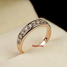 Rose Gold Plated Made with Swarovski Crystal Wedding Band Eternity Ring R126