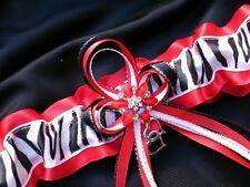 Bridal Lingerie RED ZEBRA PRINT Glitter GARTER Belt Wedding Prom Formal Bride