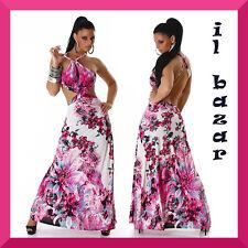 vestito donna abito lungo floreale scollatura schiena taglia unica
