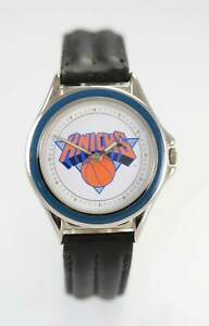 Relic Watch Mens NBA KNICKS Black Leather Stainless Steel Silver White Quartz