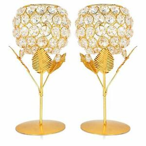 Crystal Candle Holder Tea Light Stand for Home Office Living Room Pack of 2