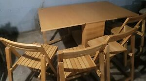 Vintage Space Saving Folding Tables With Chairs.