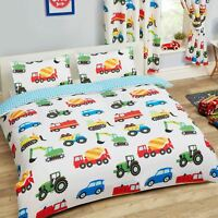TRUCKS AND TRANSPORT DOUBLE DUVET COVER SET TRACTORS CARS NEW REVERSIBLE