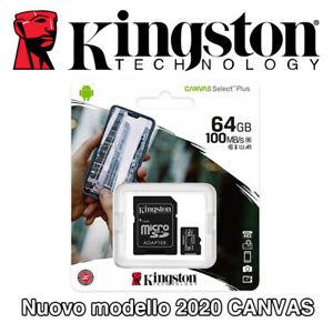 KINGSTON Micro SD 64 GB classe 10 MICROSD 100 MB/S Canvas SCHEDA MEMORIA SDCS