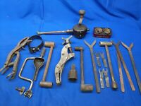 Lot Of Vintage Engine Hand Tools Valve Spring Compressor Grinder Carborundum Tin