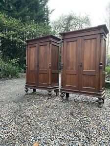 Vintage Pair Of French Solid Wood Armoires Bookcases Linen Cupboards