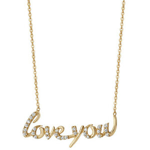 Gold plated Sterling silver Ladies 18 inch 'Love you' Necklace trace chain 2.6g