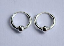 Pair Of Sterling Silver 925  Ball Hoop Earrings 12  mm !!       Brand New  !!