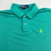 Polo Ralph Lauren Polo Shirt Mens L Green Short Sleeve 100% Cotton Hi Low Hem