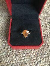 Hallmarked 10ct Yellow Gold Orange Citrine Pear Cut Ring Size:P