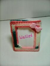 Handmade Canvas Girls Wallet Photo Picture Frame W/ Pink Bow