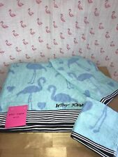 Betsey Johnson Flamingo 🦩 Set Turquoise Blue Bath Hand Towel Wash Cloth Set 3
