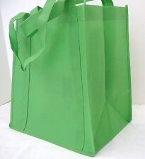 Medium Size Reusable Recyclable LIME GREEN Heavy Duty Grocery Bag With Insert