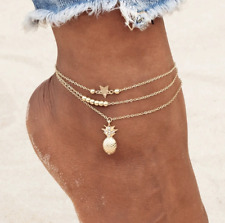 Pineapple Star Anklet Bracelet 77-1 Women's Fashion Jewelry Silver Or Gold
