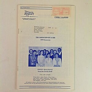 Vintage Dec 14 1979 THE GAVIN REPORT #1285 Summary San Francisco Radio Play Year