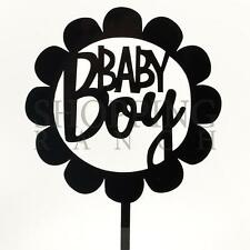 BABY BOY DOCCIA ACRILICO NERO CAKE TOPPER DECORAZIONE PARTY genere scanalatura TORTA