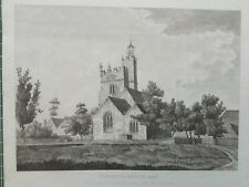 1809 Antique Print; St Mary's Church, Harmondsworth, London