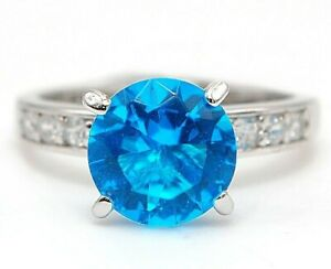 3CT Blue Topaz & Topaz 925 Solid Sterling Silver Ring Jewelry Sz 9, CO3