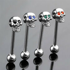 14 G  Steel CZ Gem Skull Silvery Tongue Barbell Ring Bar Body Piercing New ZY