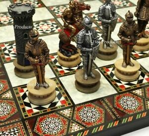 """Medieval Times Crusades Armored Knight Chess Set W/ 17"""" Mosaic Color Board"""