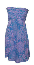 Ladies Flower Beach Purple Knotted Smocked Tie Short Summer Dress-one size