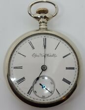 Antique Working 1891 ELGIN Nat'L Watch Co. Large Silver Gents Pocket Watch 18s