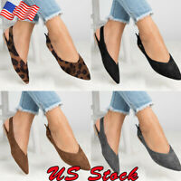 Womens Slip On Suede Slingback Ballet Pointed Toe Casual Flats Ladies Shoes Size